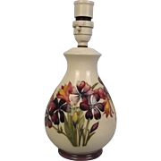 Circa 1950's Moorcroft Spring Flowers Lamp Base - Queen Mary Label