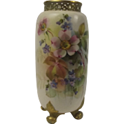Royal Worcester Wild Flowers Pattern Hand Painted Reticulated Vase 1912