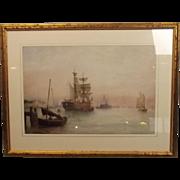 SOLD Fine 1898 Watercolour Of Jarrow Slake With Training Ship Wellesley By B.B. Hemy