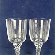 A Pair of HMS Victory Etched 20th Century Rummers Glasses