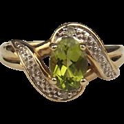 9ct Yellow Gold Peridot & Diamond Dress Ring UK Size M US 6 ¼
