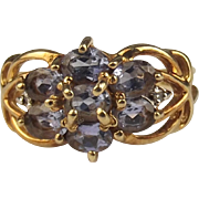 9ct Yellow Gold Amethyst & Diamond Cluster Ring UK Size J US 4 ¾