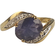 1999 9ct Yellow Gold Amethyst & Diamond Ring UK Size M US 6 ¼