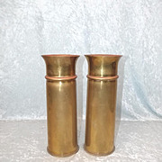 A Pair Of WW1 Trench Art British 18 Pdr Brass Shell Vases
