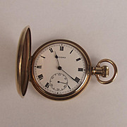 Gold Plated Top Wind Full Hunter Pocket Watch By Record
