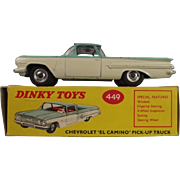 Boxed Dinky 449 Chevrolet El Camino 1961-69 Unusual Variant With No Silver Detailing