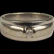 Heavy 9ct White Gold 0.10 CTW Diamond Band Ring UK Size P US 7 ¾