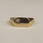 Gents 9ct Yellow Gold & Zirconia Signet Ring UK Size Q US 8 ¼