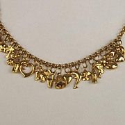 9ct Yellow Gold Charm Necklace With 23 Charms