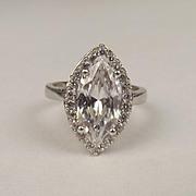 9ct White Gold Cubic Zirconia Ring UK Size P US 7 ¾