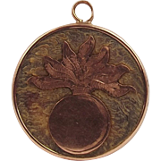 1916 9ct Rose Gold & Leather British Fusiliers Flaming Grenade Pendant