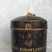 Circa 1890 Barristers Lacquered Tin Wig Box