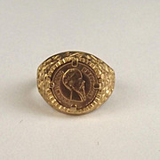1982 9ct Yellow Gold Coin Ring UK Size N+ US 7