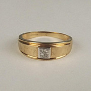 London Gents 9ct Yellow Gold Diamond Ring UK Size Z + 1.5 US 13 ½