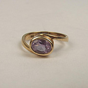 9ct Yellow Gold Amethyst Ring UK Size K+ US 5 ½