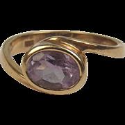 9ct Yellow Gold Amethyst Ring UK Size K+ US 5 ½