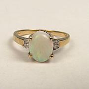 9ct Yellow Gold Opal & Aquamarine Ring UK Size O US 7 ¼