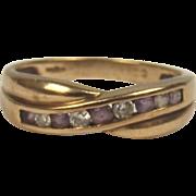 London 9ct Yellow Gold Amethyst & Cubic Zirconia Ring UK Size M+ US 6 ½