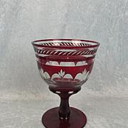 Large Bohemian Flash Overlaid Ruby Glass Goblet Vase
