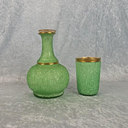 Green And Gilt Bacarrat Carafe And Tumble Up Set