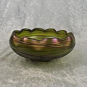 Bohemian Kralik Threaded Iridescent Green Glass Bowl