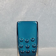 Geoffrey Baxter For Whitefriars Kingfisher Blue Mobile Phone Glass Vase Pattern No. 9670