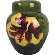 Moorcroft Hibiscus Pattern Lidded Small Ginger Jar