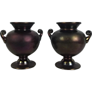 Pair Of Thomas Webb Christopher Dresser Influenced Glass Bronze Ware Vases