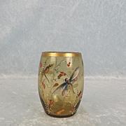 Bohemian Moser Enamelled & Gilt Amber Glass Beaker