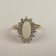 London 9ct Yellow Gold Opal & Aquamarine Ring UK Size N+ US 6 ¾