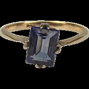9ct Yellow Gold Sapphire Ring UK Size O US 7