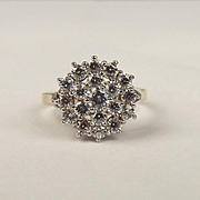 9ct Yellow Gold Cubic Zirconia Cluster Ring UK Size O US 7
