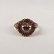 1975 9ct Yellow Gold Garnet Cluster Ring UK Size L+ US 5 ¾