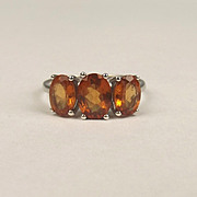 9ct White Gold Three Stone Citrine Ring UK Size O US 7
