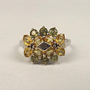 9ct White Gold & Topaz Cluster Ring UK Size S US 9