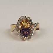 14ct Yellow Gold Multi Stone Dress Ring UK Size Q US 8 ¼