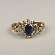 London 9ct Yellow Gold Sapphire & Diamond Ring UK Size N US 6 ½