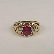 1993 9ct Yellow Gold Ruby & Diamond Ring UK Size P US 7 ½
