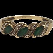 9ct Yellow Gold Emerald & Diamond Banded Ring UK Size M US 6