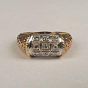 1980 9ct Yellow & White Gold Diamond Ring UK Size M+ US 6 ¼