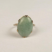 9ct Yellow Gold Jadeite Cabochon Ring UK Size L US 5 ¾