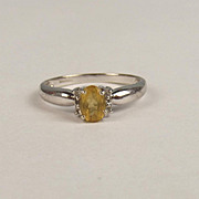 9ct White Gold Citrine & Aquamarine Ring UK Size N US 6 ¾