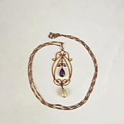 Art Nouveau 9ct Yellow Gold Amethyst & Pearl Necklace