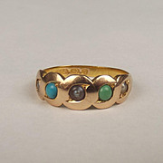 Victorian 15ct Yellow Gold Turquoise & Pearl Ring UK Size N US 6 ¾