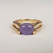14ct Yellow Gold Jadeite Ring UK Size M US 6 ¼