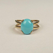 2002 9ct Yellow Gold Turquoise Ring UK Size M US 6 ¼