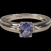 18ct White Gold Tanzanite & White Sapphire Ring UK Size L US 5 ¾
