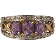 9ct Yellow Gold Amethyst & 0.1 CTW Diamond Cluster Ring UK Size M US 6 ¼