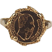 9ct Yellow Gold Mexican Coin Ring UK Size N US 6 ¾