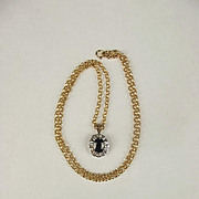 9ct Yellow Gold Necklace With Sapphire & Diamond Pendant